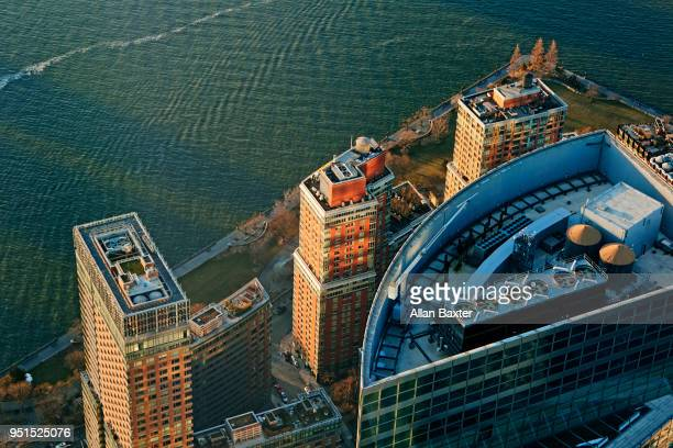 Aerial view of Downtown Manhattan with Hudson River