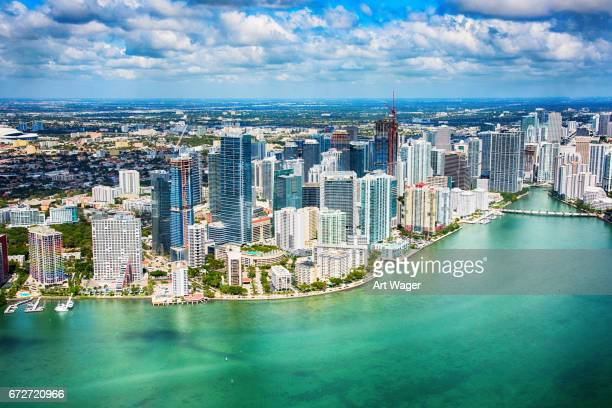 Aerial View of Downtown Miami Florida and Surrounding Area