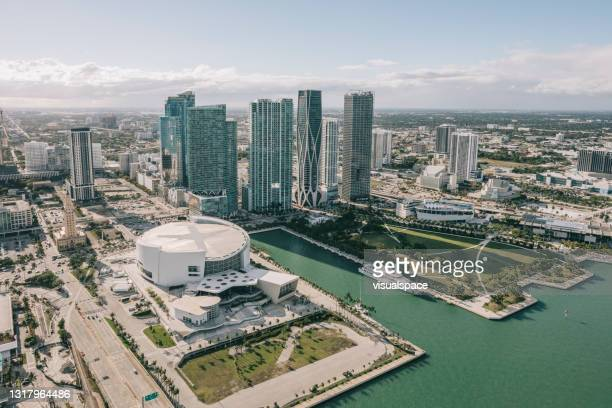 aerial view of downtown miami - american culture stock pictures, royalty-free photos & images