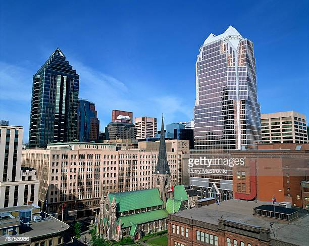 Aerial view of Downtown Montreal skyline, Quebec, Canada