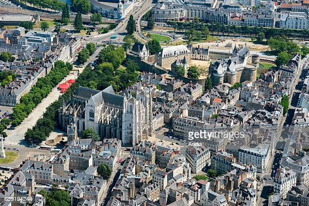 Aerial view of downtown Nantes Castle of the Dukes of Brittany Nantes Cathedral or Cathedral of St Peter and St Paul and the avenue cours SaintPierre