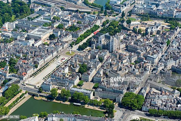 Aerial view of downtown Nantes Castle of the Dukes of Brittany Nantes Cathedral or Cathedral of St Peter and St Paul the avenue cours SaintPierre and...