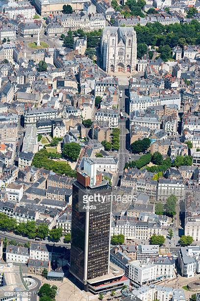 Aerial view of downtown Nantes office building Tour Bretagne and Nantes Cathedral or Cathedral of St Peter and St Paul
