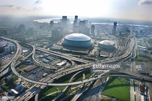 aerial view of downtown new orleans, louisiana - new orleans stock photos and pictures