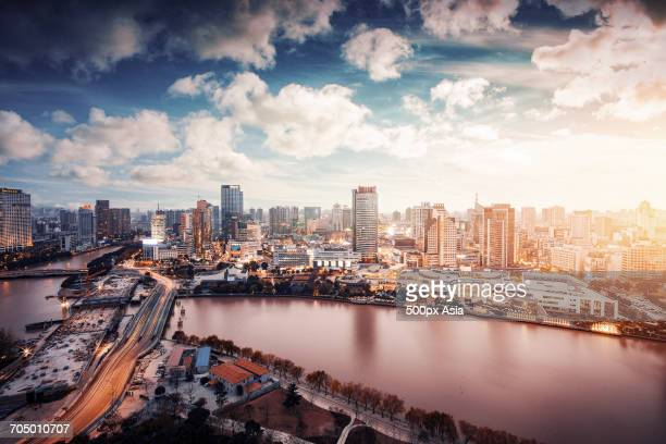 Aerial view of downtown Ningbo, China