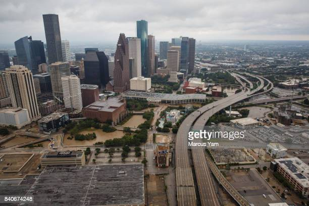 HOUSTON TEXAS TUESDAY AUGUST 29 2017 A aerial view of downtown on August 29 2017 in Houston Texas