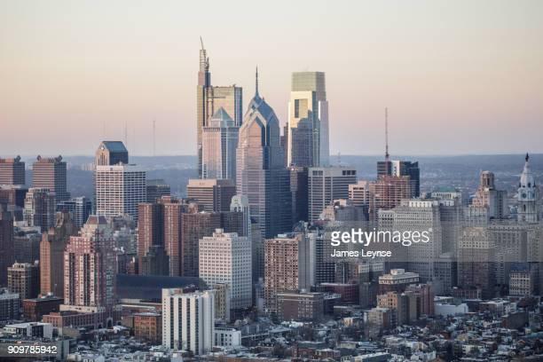 aerial view of downtown philadelphia - philadelphia skyline stock pictures, royalty-free photos & images