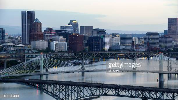Aerial view of downtown Portland from Willamette River in morning