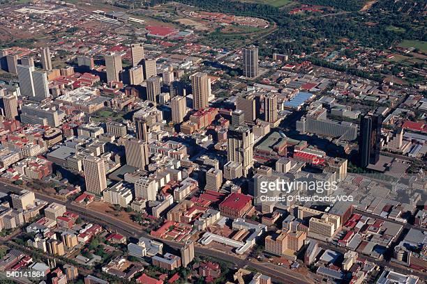 aerial view of downtown pretoria - pretoria stock pictures, royalty-free photos & images