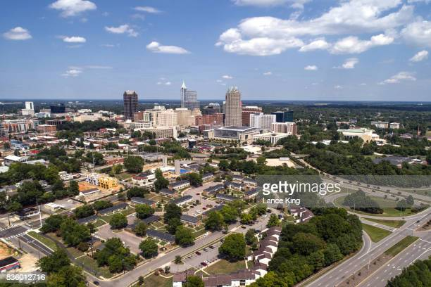 aerial view of downtown raleigh, nc - ノースカロライナ州ローリー ストックフォトと画像