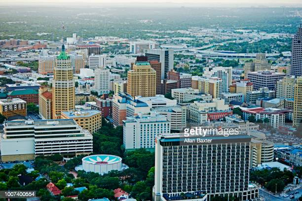 Aerial view of downtown San Antonio at dusk