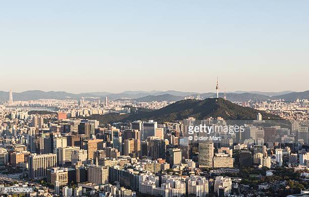 Aerial view of downtown Seoul at sunset, South Korea capital city