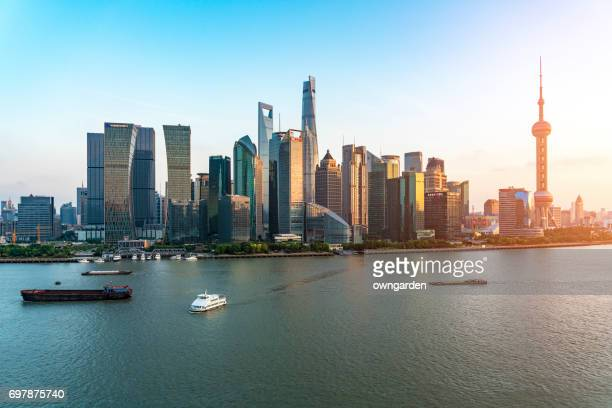Aerial View of Downtown Shanghai at Dusk