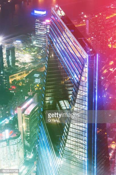 Aerial view of downtown Shanghai, China, China