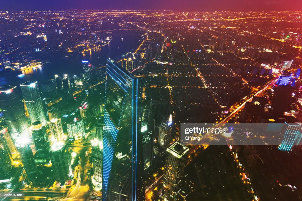 Aerial view of downtown Shanghai, China : Stock Photo