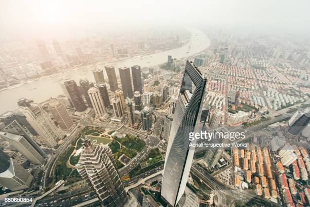 Aerial View of Downtown Shanghai in Sunlight