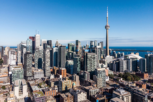 Aerial View of Downtown Toronto on a Sunny Day, Ontario, Canada 1040643480