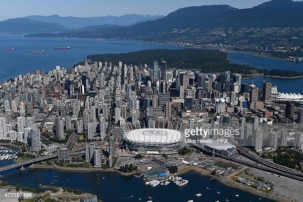 Aerial view of Downtown Vancouver and BC Place Stadium on June 14, 2015 in Vancouver, Canada.