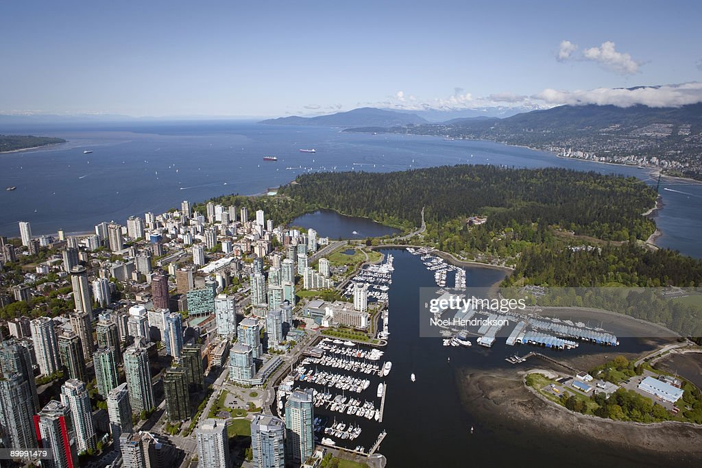 aerial view of downtown Vancouver and Stanley Park : Stock Photo