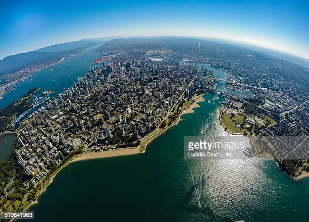 aerial view of downtown vancouver - english bay stock photos and pictures