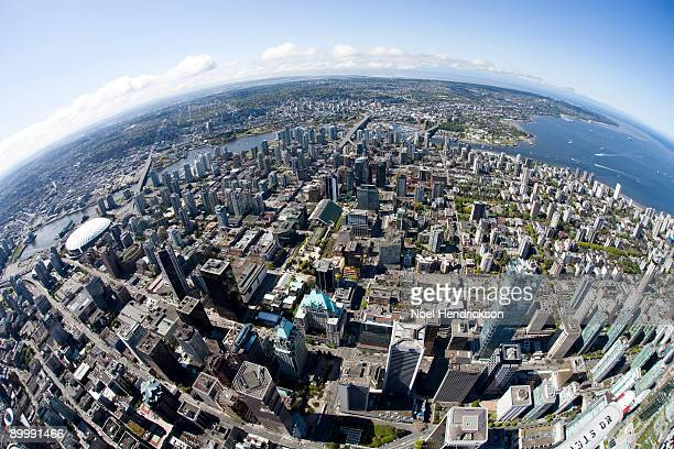 aerial view of downtown vancouver - clear sky stock pictures, royalty-free photos & images
