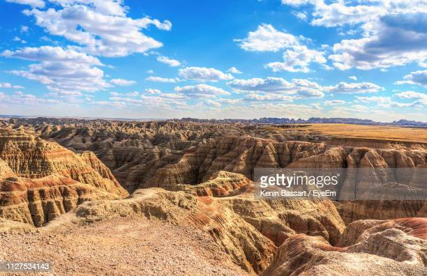 aerial view of dramatic landscape against cloudy sky - kenin stock pictures, royalty-free photos & images