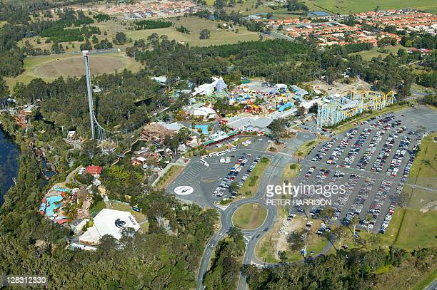 Aerial view of Dreamworld, Queensland, Australia