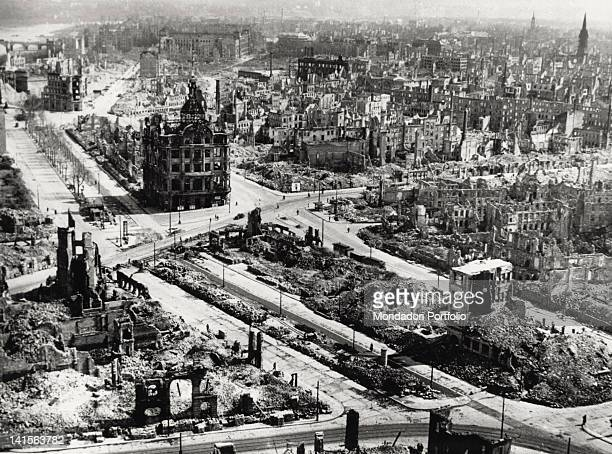 Aerial view of Dresden city centre the area around Pirnaischer Platz devastated by the AngloAmerican bombing of the 13th and 14th of February 1945...