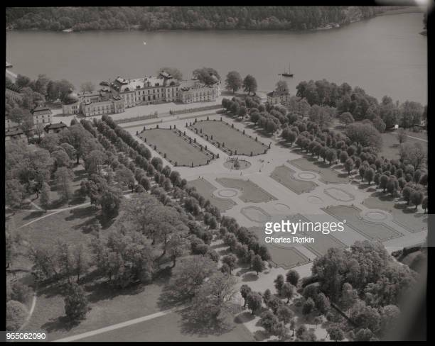 Aerial view of drottingholm palace A manicured park surrounds three sides of the sculpture garden at Drottingholm Palace This is the summer residence...