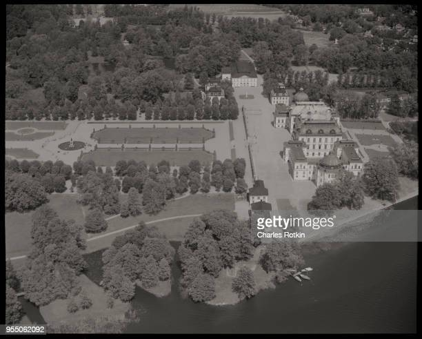 Aerial view of drottningholm palace A manicured park and sculpture garden on the grounds of Drottingholm Palace This is the summer residence of the...
