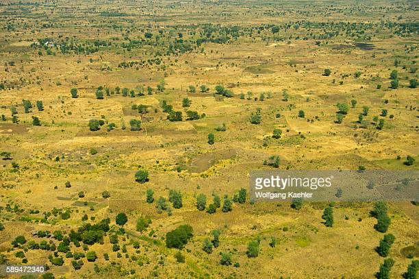 Aerial view of dry landscape with fields near Lake Malawi in Malawi