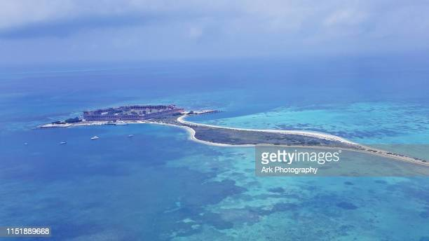 aerial view of dry tortugas - dry tortugas stock pictures, royalty-free photos & images