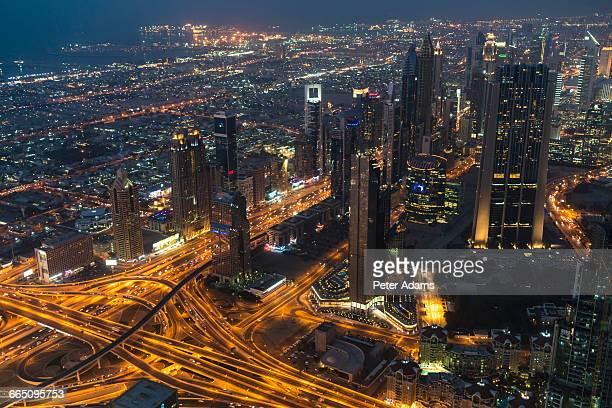 Aerial view of Dubai at night