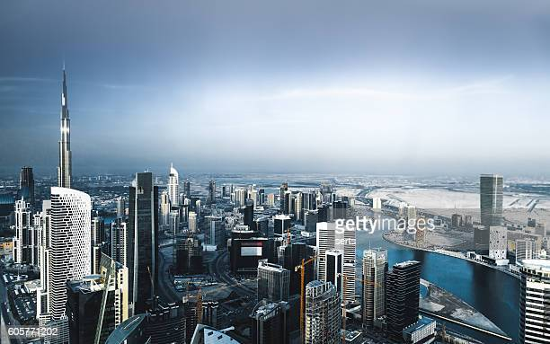 Aerial view of Dubai city sky line