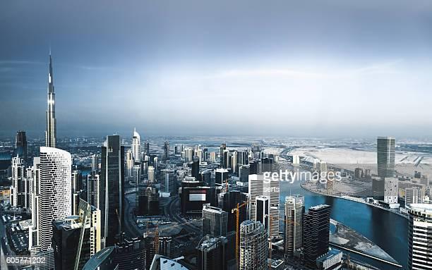 Vista aérea de la ciudad de Dubai Horizonte de