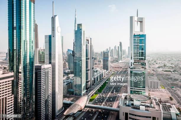 aerial view of dubai cityscape, united arab emirates - dubai stock-fotos und bilder