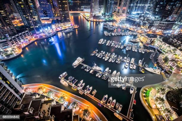 Aerial View of Dubai Marina at Night