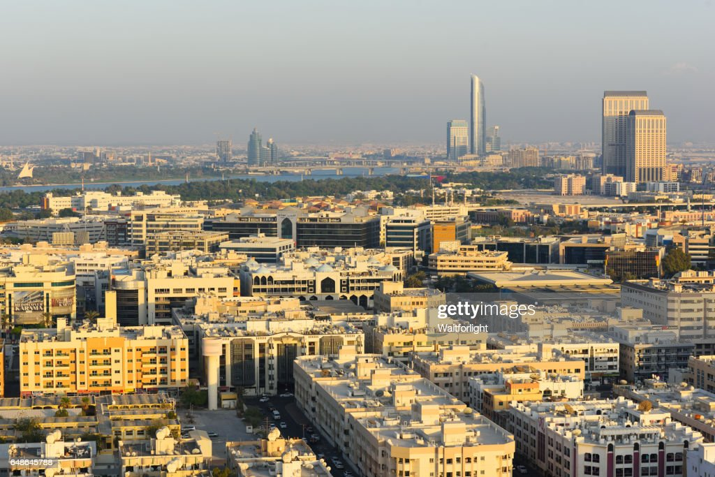 aerial view of dubai old town stock photo getty images. Black Bedroom Furniture Sets. Home Design Ideas