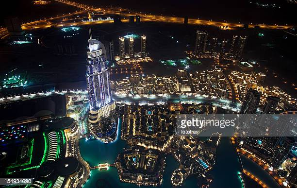 Aerial view of Dubai skyline by night
