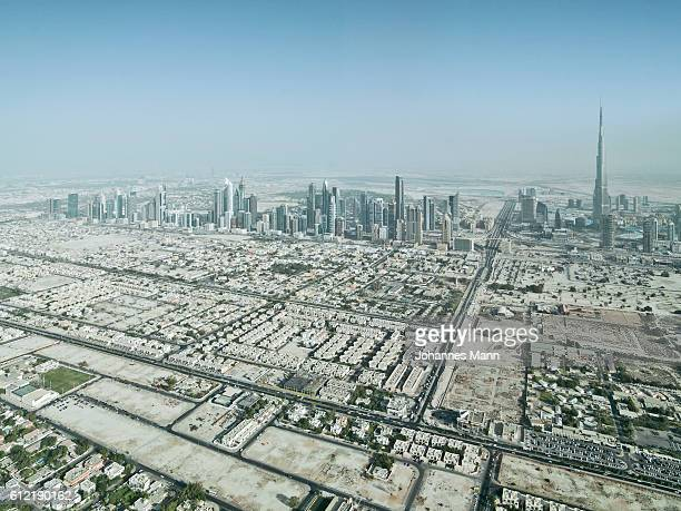 Aerial view of Dubai skyline, UAE