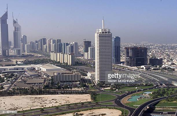 Aerial view of Dubai's World Trade Center taken 12 November 1999 Oil was discovered in the emirate of Dubai in 1966 and its first oil exports three...