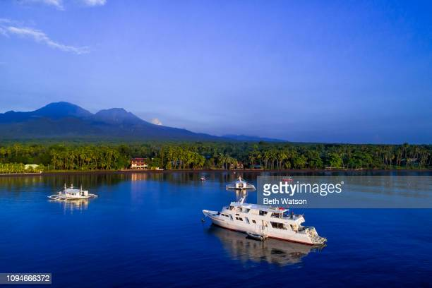 aerial view of dumaguete, philippines - negros oriental stock pictures, royalty-free photos & images