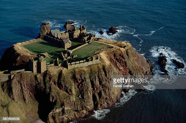 aerial view of dunnottar castle - dunnottar castle stock pictures, royalty-free photos & images