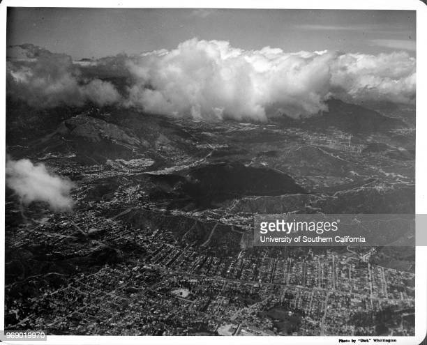 Aerial view of Eagle Rock just south of Glendale looking at Colorado Boulevard Glendale California early to mid twentieth century