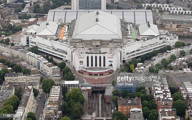 Aerial view of Earls Court which will host Volleyball events during the London 2012 Olympic Games on July 26 2011 in London England