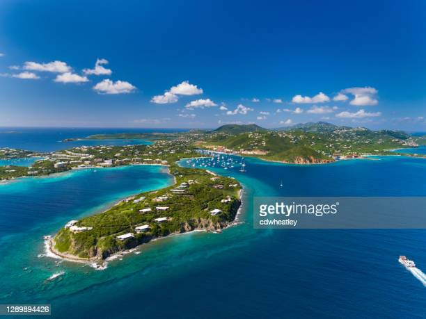aerial view of east end of st. thomas, red hook - west indies stock pictures, royalty-free photos & images