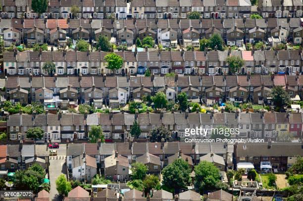 Aerial view of East London suburb Thames Gateway London UK