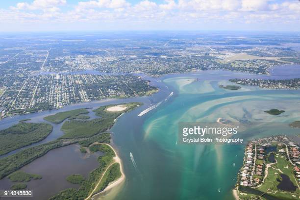 aerial view of eastern south florida coastline - vero beach stock pictures, royalty-free photos & images