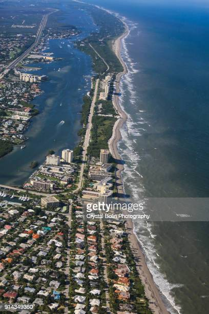 aerial view of eastern south florida coastline - jupiter florida stock pictures, royalty-free photos & images