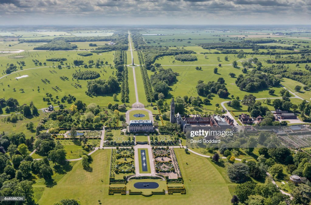 KINGDOM -JUNE 10. Aerial view of Eaton Hall in Cheshire on June 10, 2015. Located four miles south of Chester, this French chateaux style mansion was the country home of the Duke of Westminster.